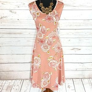 Pretty Rose Print Polka Dot LuLaRoe Nicki Dress XL